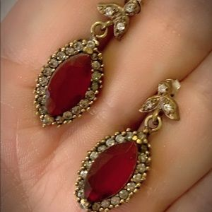 PIGEONS BLOOD RUBY EARRINGS Solid 925 Silver/Gold